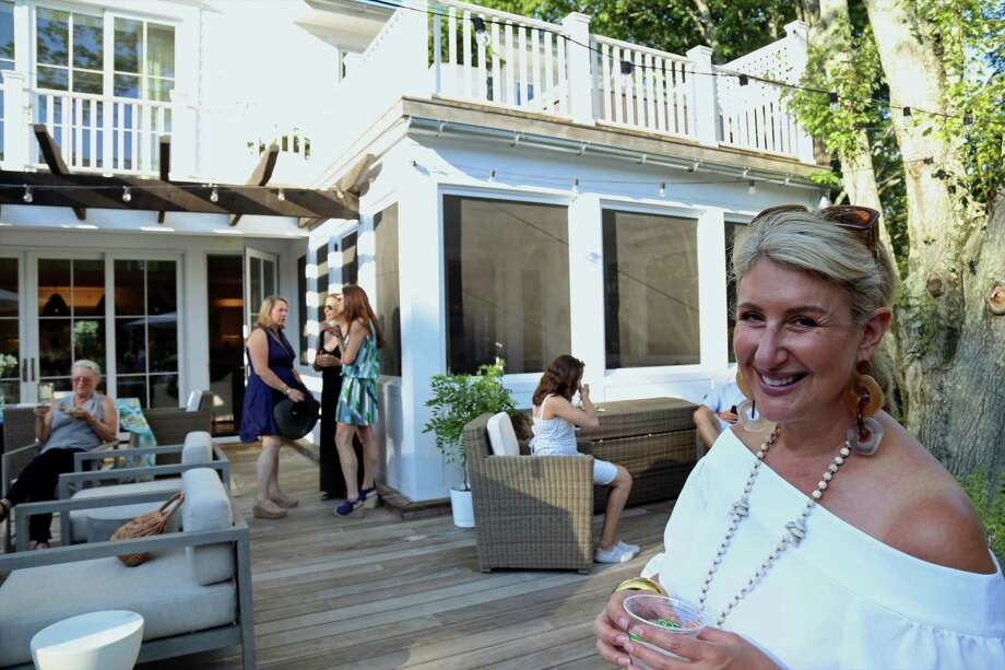 "Author and Westport resident Jane Green takes part in the Food Rescue US fundraiser event ""Pools, Patios & Pergolas"" on Saturday, July 13, 2019, in Westport, Conn. Photo: Jarret Liotta / Jarret Liotta / ©Jarret Liotta"