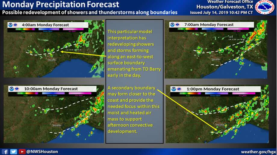 The Houston area may feel the effects of Tropical Storm Barry this morning and afternoon as rain bands move into the area.  >> Click through the following gallery to see photos of last week's flooding from Tropical Depression Barry in New Orleans. Photo: National Weather Service
