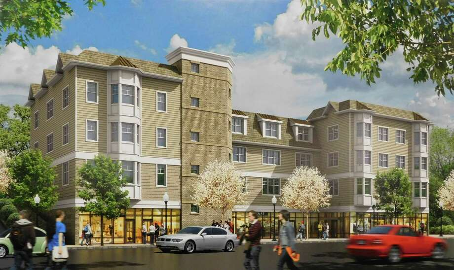A rendering of what the proposed Cedar Village at Carroll's retail and apartment building on Howe Avenue would look like from street level. Photo: Contributed Photo / Connecticut Post