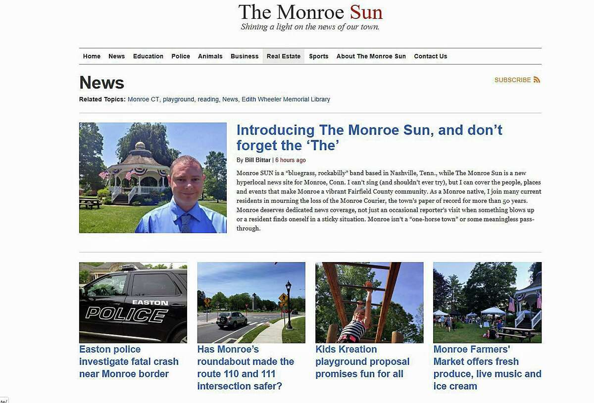 Monroe has a new hyperlocal news site called The Monroe Sun. The site was recently launched by Bill Bittar, a veteran journalist and former editor for the Monroe Courier, AOL's Monroe Patch, and a reporter with the Connecticut Post and Republican-American.