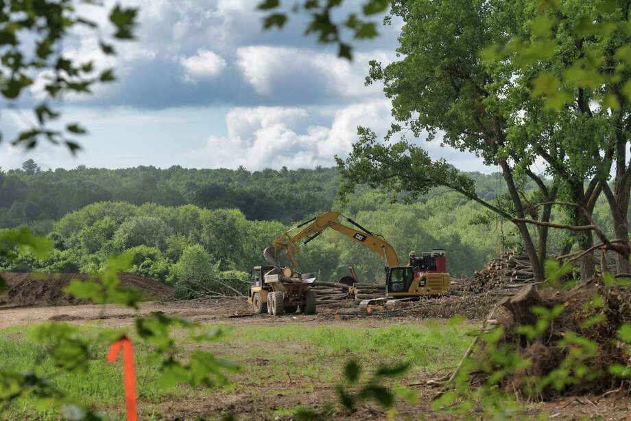 Site preparation work continues on land where an Amazon warehouse will be constructed, seen here on Monday, July 15, 2019, in Schodack, N.Y.  (Paul Buckowski/Times Union) Photo: Paul Buckowski, Albany Times Union / (Paul Buckowski/Times Union)