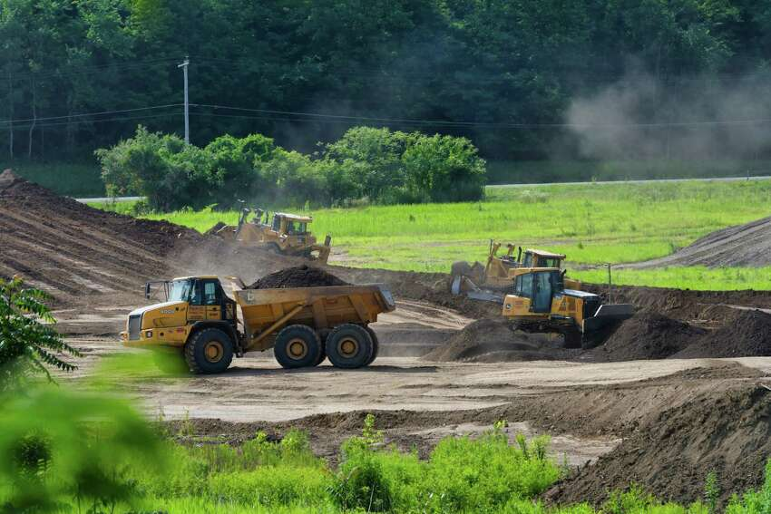 Site preparation work continues on land where an Amazon warehouse will be constructed, seen here on Monday, July 15, 2019, in Schodack, N.Y. (Paul Buckowski/Times Union)