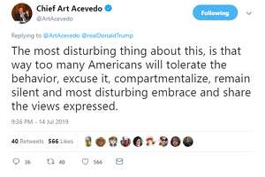 "Houston Police Chief Art Acevedo recently responded to Trump's criticism of four minority Democratic congresswomen on Twitter. He called the comments ""un-American"" and ""indefensible."""