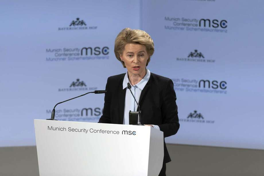 Ursula von der Leyen, Germany's defense minister, speaks on the opening day of the Munich Security Conference in Munich on Feb. 15, 2019. Photo: Bloomberg Photo By Alex Kraus. / © 2019 Bloomberg Finance LP
