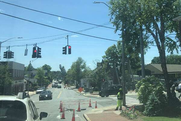 A crew from Burns Construction works on the gas expansion project for the Town of New Canaan, Connecticut, at the intersection of Elm Street, and Park Street, and Cherry Street, at Pine Street, and Park Street, in the town's downtown district, on Tuesday, June 4, 2019. Contributed photo