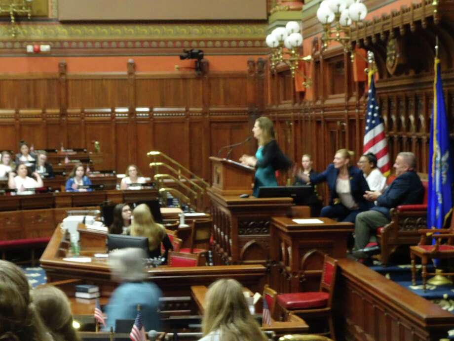 Lt. Governor Susan Bysiewicz speaks during Laurel Girls State in Waterbury, hosted by the American Legion Auxiliary in June. Photo: Contributed Photo /