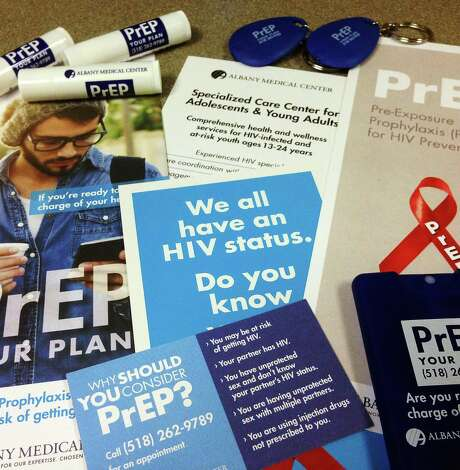 A view of some of the materials that have been handed out across the country dealing with PrEP, a medication for people who are at high risk for contracting HIV.