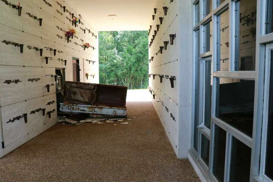 On Wednesday, July 3,  Beaumont police said they responded to Forest Lawn Cemetery, in the 4900 block of Pine Street, in reference to a burglary.  The cemetery grounds keeper reportedly discovered two mausoleum tombs were significantly damaged and one casket was removed from it's tomb and opened. Photo: Beaumont PD/Facebook