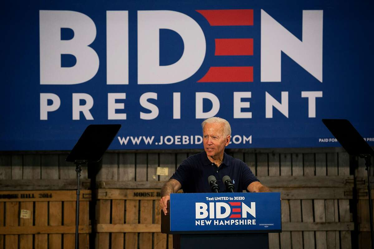 Former Vice President Joe Biden holds a campaign event at Mack's Apples in Londonderry, N.H., July 13, 2019. After remaining vague for months about his plans to expand on the Affordable Care Act, Biden is planning to offer more details in a speech Monday, including changes to the law that would let more people get subsidies to help pay for their health insurance and reduce the maximum percentage of income they would have to spend on premiums. (Elizabeth Frantz/The New York Times)