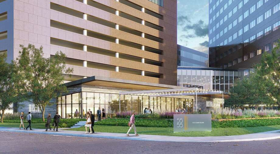 The Page architecture firm has designed the renovations planned for Marathon Oil Tower at 5555 San Felipe. The improvements include remodeled common areas and a new freestanding restaurant. Photo: Courtesy Of M-M Properties