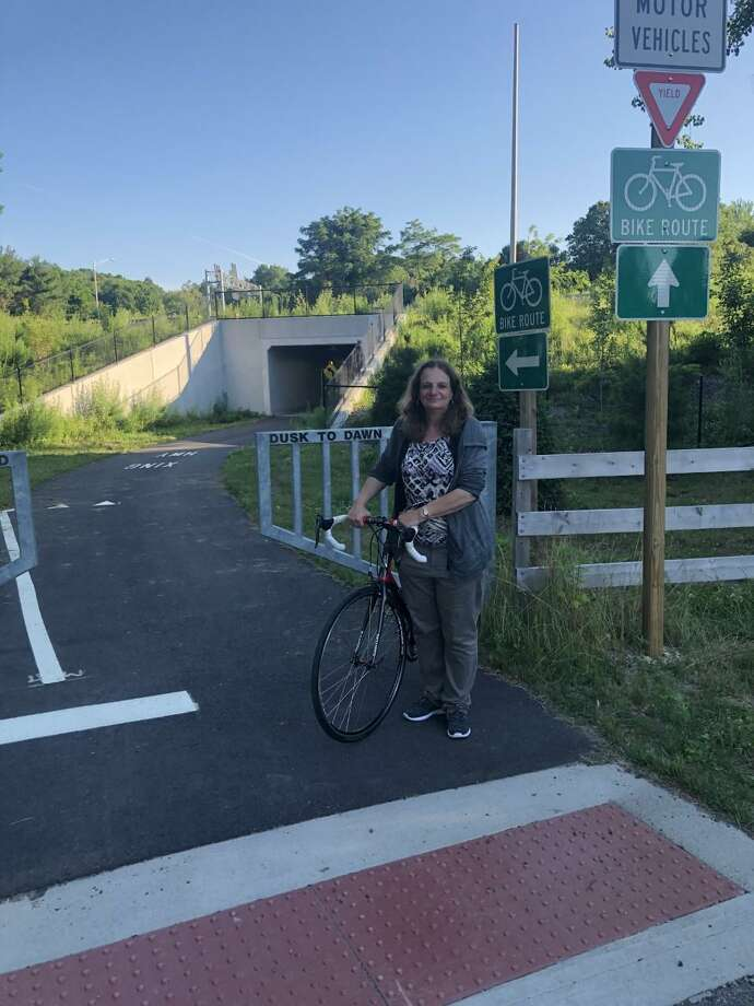 Sue A. DelBianco, will host a historical bike tour on the rail-trail starting at Twin Brooks Park to the end of Beardsley Park July 21. Photo: Contributed Photo