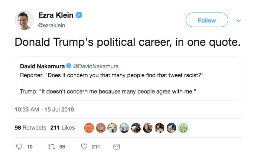 Twitter reacts after Trump doubles down on racist tweets in a Monday press conference.
