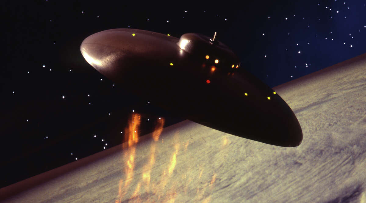 Concept graphic to illustrate a supposed unidentified object above Earth, created by Seth Shostak.