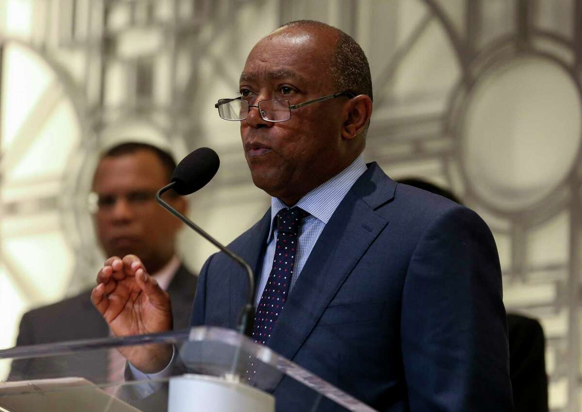 Mayor Sylvester Turner announces a proposed consent decree to improve the city's sanitary sewer system, during a press conference at City Hall Tuesday, July 9, 2019, in Houston. >>>See iconic construction sites from Houston's most notable projects.