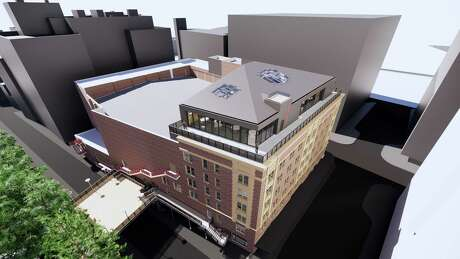 San Antonio-based architecture firm Overland Partners plans to convert the Aztec Theatre's rooftop to a multi-purpose event area with room for 200 to 220 guests, which will involve expanding the building's facade by 22 feet.