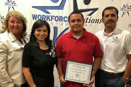 Daniel Rodriguez was awarded a $1,000 scholarship during the Workforce Solutions 18th annual Employer Awards and Scholarship luncheon earlier this week. Pictured, from left, are Area Community Hospice liaison Laura Williams, ACH owner/administrator Nancy Kernell, Rodriguez and ACH chaplain Oscar Chavez.
