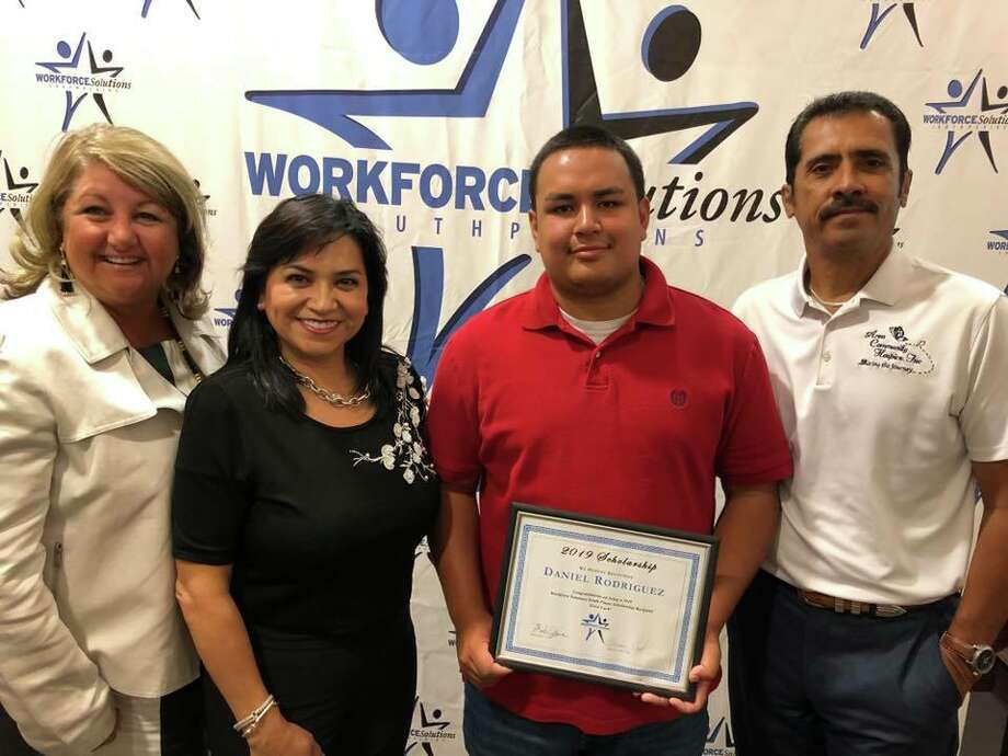 Daniel Rodriguez was awarded a $1,000 scholarship during the Workforce Solutions 18th annual Employer Awards and Scholarship luncheon earlier this week. Pictured, from left, are Area Community Hospice liaison Laura Williams, ACH owner/administrator Nancy Kernell, Rodriguez and ACH chaplain Oscar Chavez. Photo: Courtesy Photo