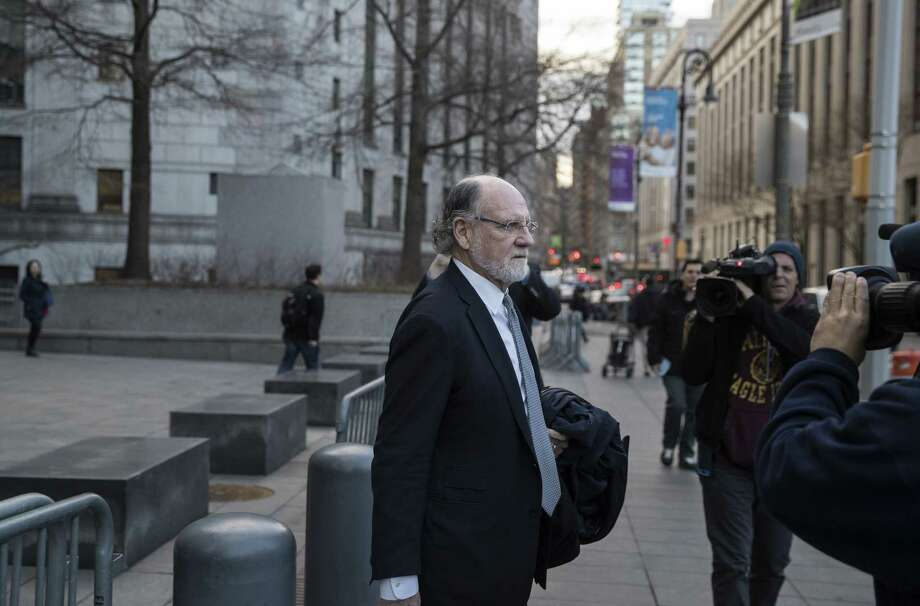 Jon Corzine, former chairman of MF Global Holdings Ltd., exits district court in New York on March 9, 2017. Photo: Bloomberg Photo By Victor J. Blue. / © 2017 Bloomberg Finance LP
