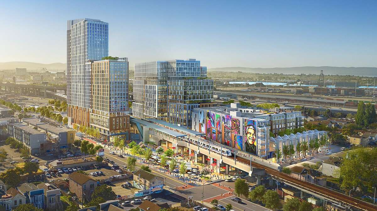 A mixed-used complex that includes 762 housing units, shown in a rendering, is approved for the parking lot of the West Oakland BART Station. The transit agency's planned development is part of a push for more affordable housing near public transit.