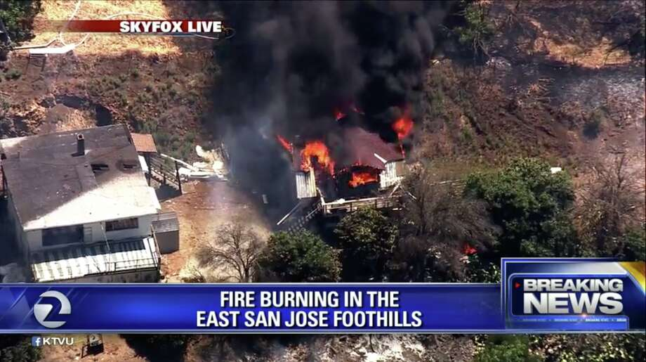 KTVU aerial images show a structure on fire in the East San Jose foothills on July 15, 2019. Photo: KTVU
