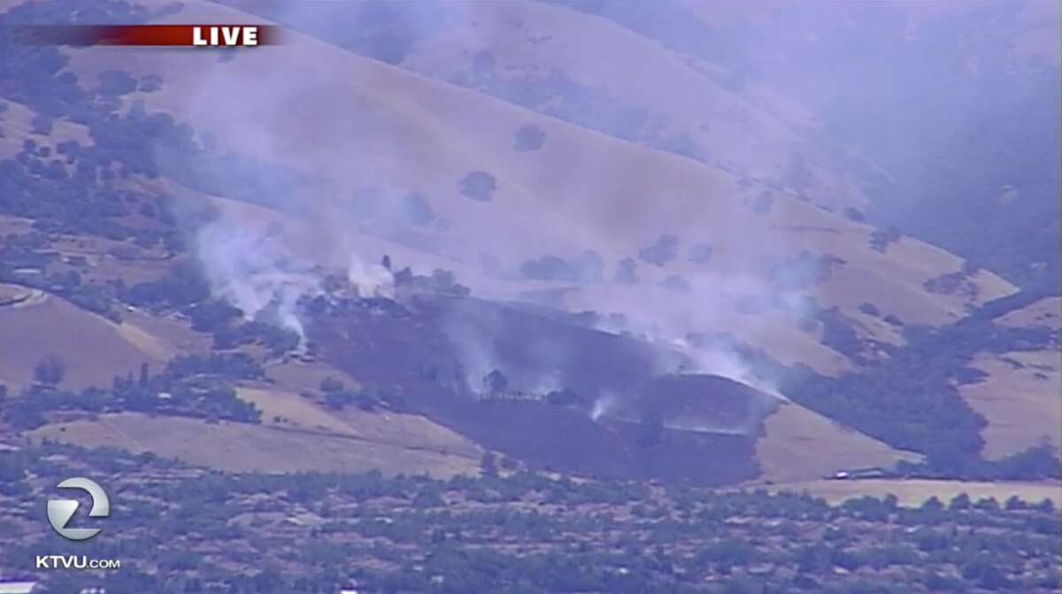 KTVU aerial images show a structure on fire in the East San Jose foothills on July 15, 2019.
