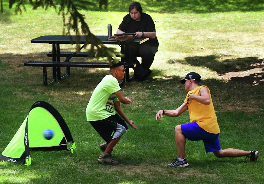 St. Rose students in a group called College Experience play a game of Handball on campus Monday, July 15, 2019 in Albany, N.Y. (Lori Van Buren/Times Union) Photo: Lori Van Buren, Albany Times Union