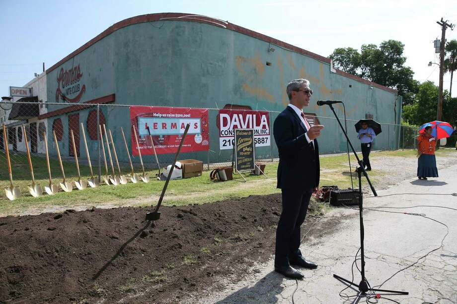 Mayor Ron Nirenberg speaks as restoration of Lerma's Nite Club begins in July. The coalition that came together to accomplish this was galvanized, in no small way, by La Gloria's demolition in 2002. Photo: Jerry Lara /Staff Photographer / © 2019 San Antonio Express-News