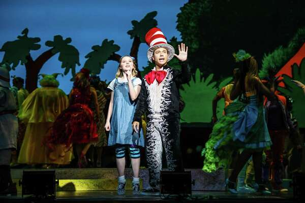 Kelly Lomonte as JoJo and Chris Chatman as The Cat in The Hat. in the Theatre Under the Stars' production of 'Seussical'