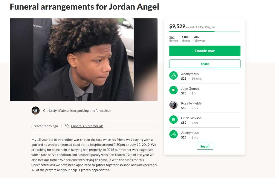 A GoFundMe page for the family of Jordan Angel, the Houston teen who was killed in an accidental shooting last Friday, says the boy's mother has been paralyzed since 2015. The boy's father also died last year, the page said. Photo: GoFundMe.com