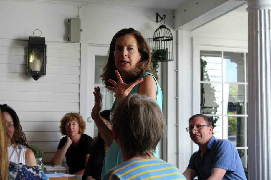 Lt. Governor Susan Bysiewicz speaks at the Resister's meeting at Tavern on Main. Taken July 15, 2019 in Westport, CT. Photo: Lynandro Simmons /Hearst Connecticut Media
