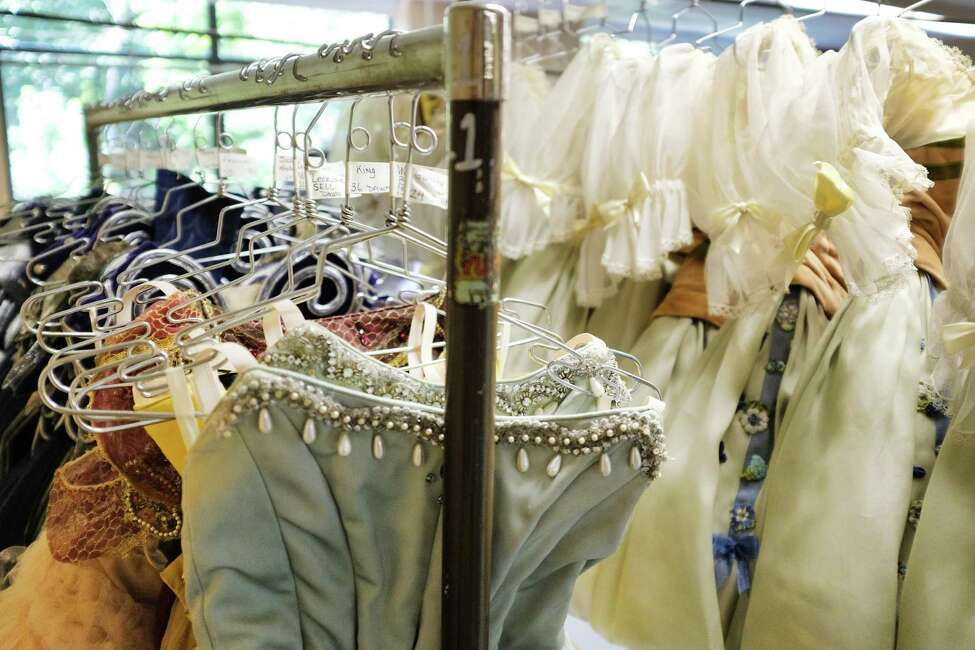 Costumes for New York City Ballet dancers worn for the third act of the ballet Coppélia are seen backstage at the Saratoga Performing Arts Center on Monday, July 15, 2019, in Saratoga Springs, N.Y. The ballet Coppélia, which first debuted at SPAC back in 1974, will be performed on Thursday, Friday and a matinee on Saturday. More than 100 costumes are used in Coppélia. The ballet begins their Saratoga season on Tuesday evening with the ballet Tchaikovsky and Balanchine and runs through Saturday with SPAC's New York City Ballet Gala. Equipment moved up to SPAC for the ballet includes more than 1,000 toe shoes, 3 miles of cable for the lighting, scenery for each ballet, a washer and dryer, and a sprung floor. An entire truck is dedicated to transporting the hundreds of ballet costumes. The full orchestra set up includes two pianos. (Paul Buckowski/Times Union)