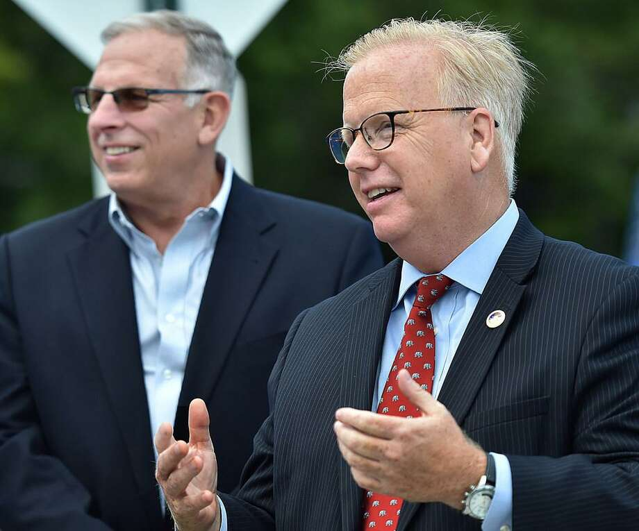 Mark Boughton, Danbury mayor and the Republican endorsed candidate for governor campaigns Tuesday, August 14, 2018, in the GOP primary election at Cheshire High School. Photo: File Photo