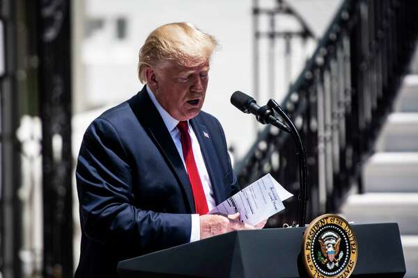 President Trump speaks during the third annual Made in America Product Showcase on the South Lawn of the White House on July 15 in Washington, D.C.
