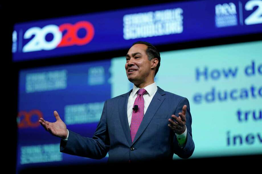 Democrat Julián Castro speaks earlier this month in Houston at the National Education Association Strong Public Schools Presidential Forum. Photo: David J. Phillip /Associated Press / Copyright 2019 The Associated Press. All rights reserved