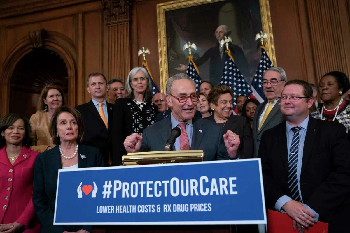 Senate Minority Leader Chuck Schumer and House Speaker Nancy Pelosi, rallied their fellow Democrats ahead of a House floor vote on the Health Care and Prescription Drug Package in May. Implementing arbitration to lower Medicare costs may wind up hurting patients.