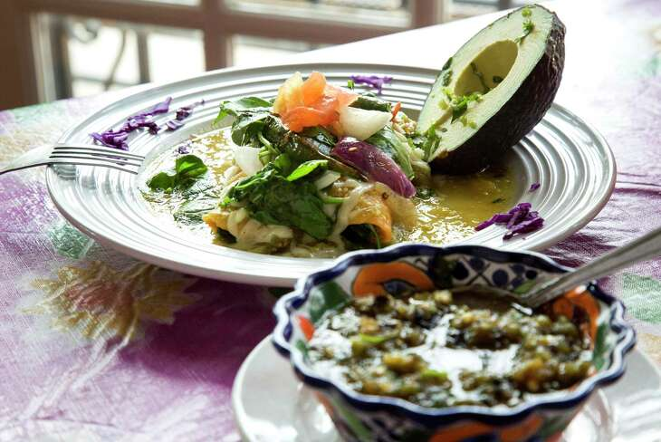 The fresh spinach enchilada at Irma's Original.