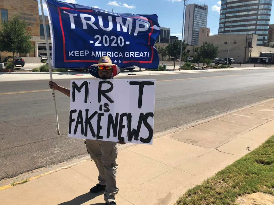 Trump-supporter and Midland native Nino Rodriguez protests the Reporter-Telegram on 7/15/2019, in opposition to a story it published earlier that day, regarding Trump's alleged racist tweets. Photo: Brandi Addison/ Midland Reporter-Telegram