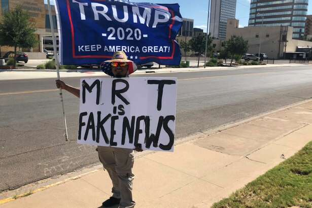 Trump-supporter and Midland native Nino Rodriguez protests the Reporter-Telegram on 7/15/2019, in opposition to a story it published earlier that day, regarding Trump's alleged racist tweets.
