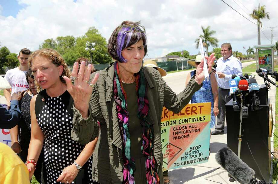 Rep. Rosa DeLauro, D-Conn., right, and Rep. Debbie Wasserman Schultz, D-Fla., left, walk away from the podium following a tour of the Homestead Temporary Shelter for Unaccompanied Children, Monday, July 15, 2019, in Homestead, Fla. (AP Photo/Lynne Sladky) Photo: Lynne Sladky / Associated Press / Copyright 2019 The Associated Press. All rights reserved.