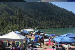 Sand Harbor Beach on Lake Tahoe was packed on July 4, 2019.
