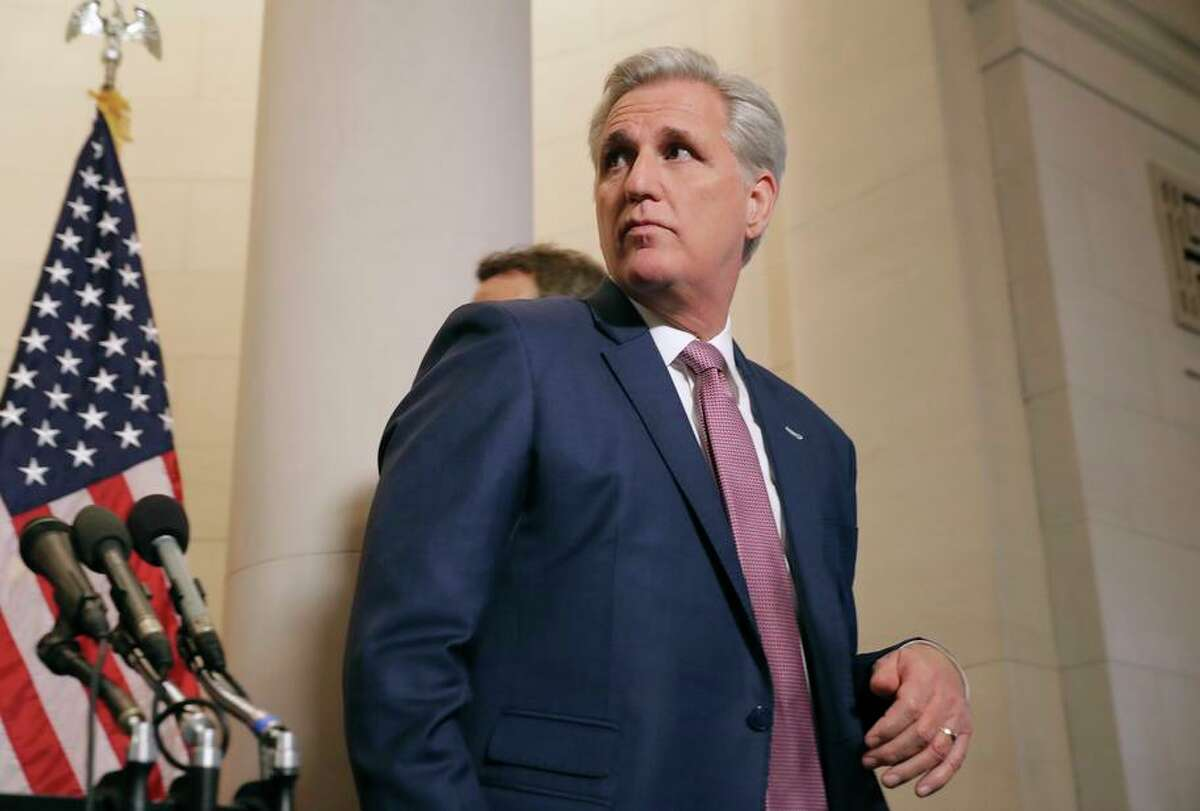 House Majority Leder Kevin McCarthy (R-CA) leaves after talking to reporters following his election to House minority leader for the next Congress in the Longworth House Office Building on Capitol Hill November 14, 2018 in Washington, DC.