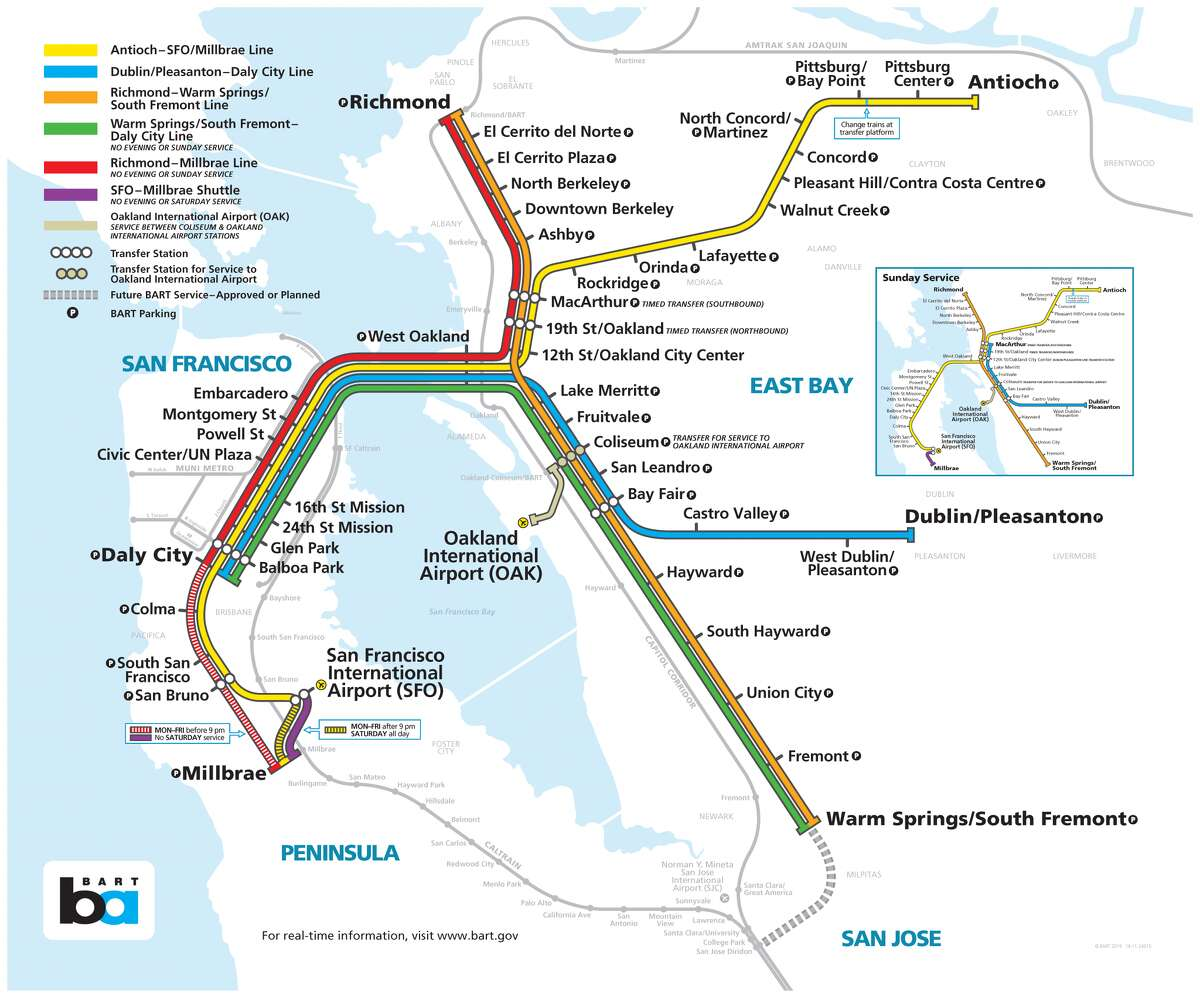 BART will run longer cars and extra event service on Friday and Saturday. Red and Green lines will run on Sunday morning and afternoon with extra event trains in the evening.
