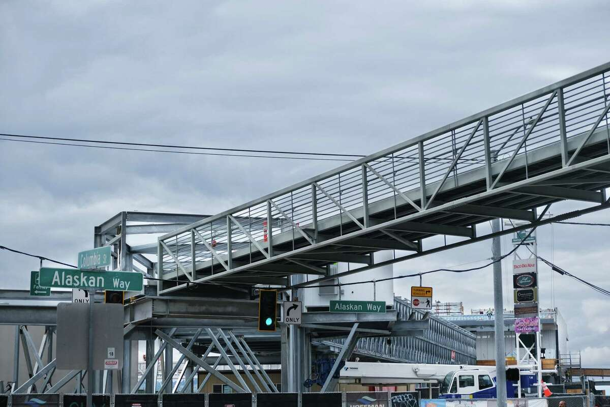 A new temporary pedestrian bridge will get walkers from Marion Street to the ferry dock at Columbia Street and Alaskan Way once it opens in August. Photographed Thursday, July 11, 2019.