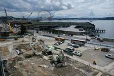 A view of a newly opened up waterfront as work contiues to tear down the Alaskan Way Viaduct, July 11, 2019.