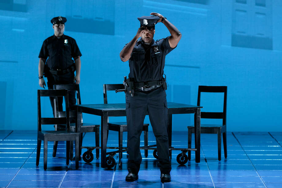 """(Front) Kenneth Kellogg as The Father in The Glimmerglass Festival's 2019 world premiere of Jeanine Tesori and Tazewell Thompson's """"Blue."""" Photo: Karli Cadel/The Glimmerglass Festival Photo: Karli Cadel / (c) 2019 Karli Cadel"""