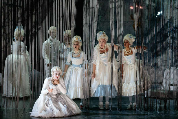 (Front from left) Yelena Dyachek as Marie Antoinette, Abigail Paschke, Teresa Perotta and SImran Claire in The Glimmerglass Festival's 2019 production of The Ghosts of Versailles. Photo: Karli Cadel/The Glimmerglass Festival