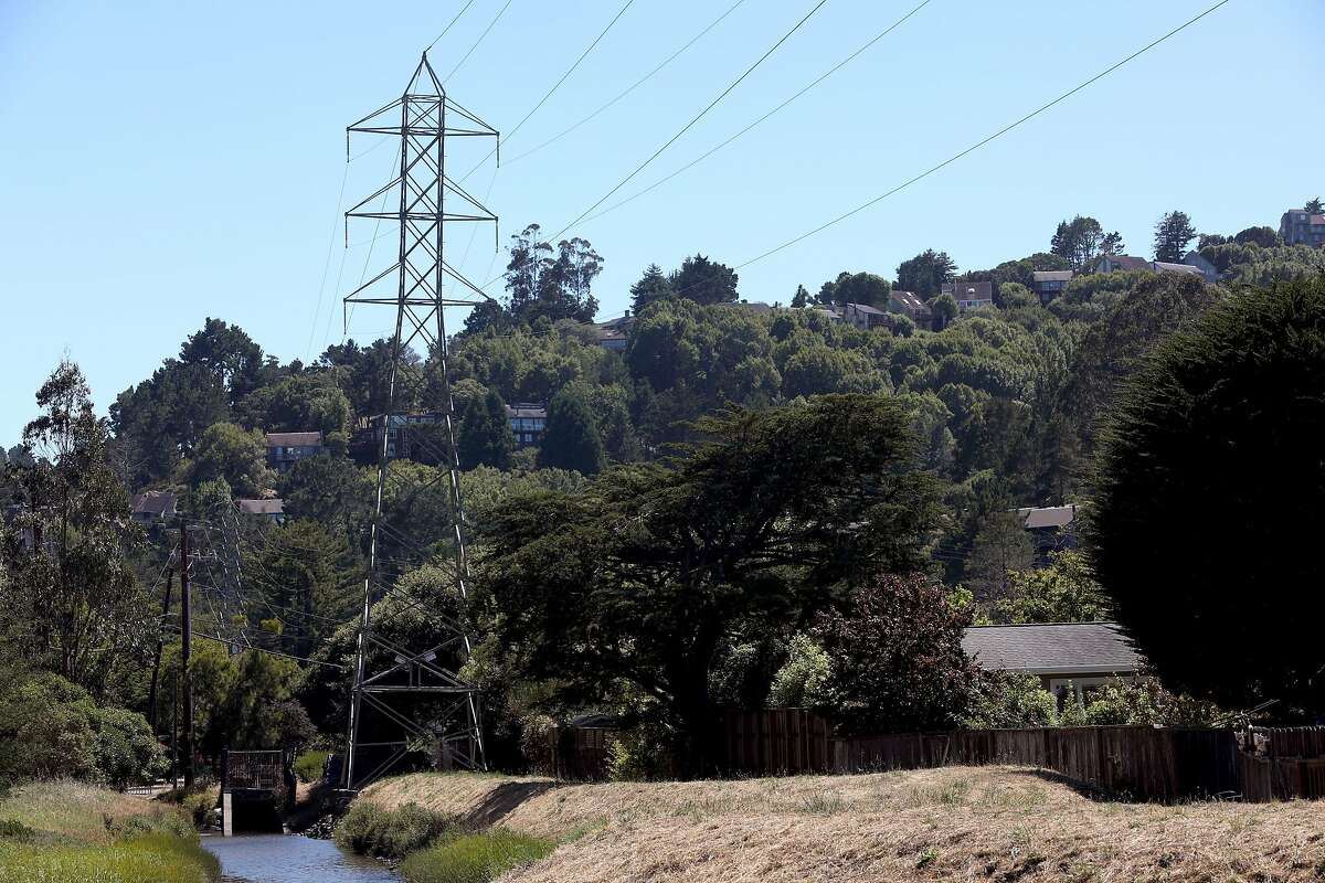 Marin power line seen next to Tennessee Valley Rd. at Marin Ave. on Monday, July 15, 2019 in Mill Valley, Calif.