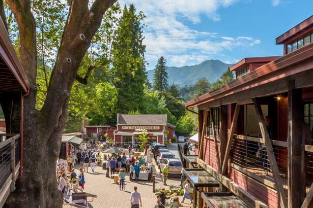 The Mill Valley Lumber Yard, an historic shopping village, renovated and re-purposed in 2017-2018 into retail shops plus a restaurant and bakery, with an acre of outdoor space along the creek. Photo courtesy Jan Mathews, Mill Valley Lumber Yard