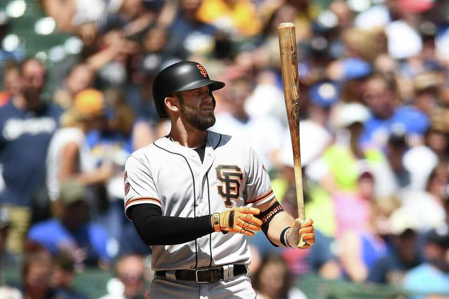 Evan Longoria #10 of the San Francisco Giants at bat during a game against the Milwaukee Brewers at Miller Park on July 14, 2019 in Milwaukee, Wisconsin. The Giants defeated the Brewers 8-3. Photo: Stacy Revere / Getty Images / 2019 Stacy Revere