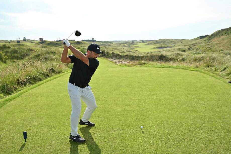 PORTRUSH, NORTHERN IRELAND - JULY 15: Francesco Molinari of Italy plays a shot  during a practice round prior to the 148th Open Championship held on the Dunluce Links at Royal Portrush Golf Club on July 15, 2019 in Portrush, United Kingdom. (Photo by Stuart Franklin/Getty Images) Photo: Stuart Franklin / 2019 Getty Images